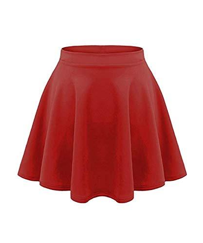 - Loxdonz Girls Kids Casual Mini Stretch Waist Flared Plain Pleated Skater Skirt (11/12 Years, Red)