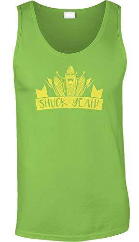 Blittzen Mens Tank Shuck Yeah - Corny Pun - Farm Joke, S, Lime Green -
