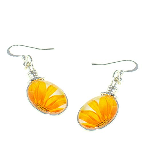 Handmade Sunflower Earrings, Petite Oval Glass Drop Dangle Earrings, Jewelry for Women