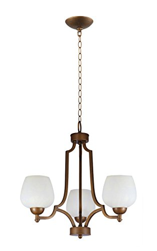 IN HOME 3-Light CHANDELIER CH29, Bronze Finish with Opal Glass Shade, UL listed (Light Finish Bronze Chandelier 3)