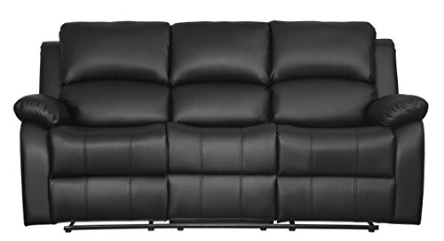 Homelegance 9928BLK-3 Clarkdale Double Reclining Sofa with Drop Down Cup Holders