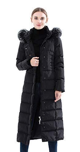 (Obosoyo Women's Hooded Thickened Long Down Jacket Maxi Down Parka Puffer Coat Black)