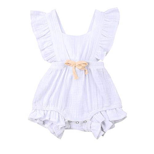 YOUNGER TREE Toddler Baby Girl Ruffled Collar Sleeveless Romper Jumpsuit Clothes (Milk White, 6-12 Months) -