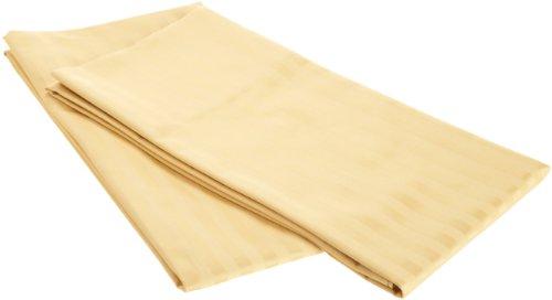 Pillowcase Striped Gold (100% Egyptian Cotton 650 Thread Count King 2-Piece Pillowcase Set, Single Ply, Stripe, Gold)