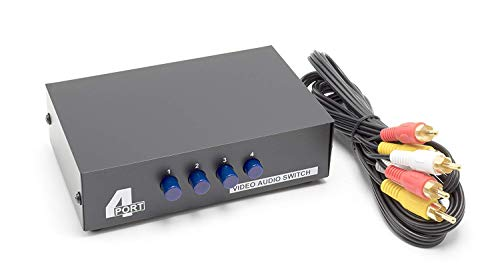 THE CIMPLE CO - 4 Way AV Switch | 4 Input 1 Output RCA Selector Switch for Composite Audio and Video | Switcher Box | Includes RCA Composite Cable (Black)