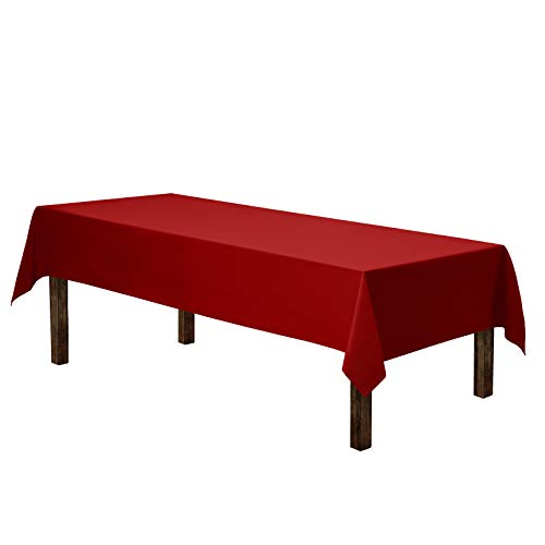 """Gee Di Moda Rectangle Tablecloth - 60 x 102"""" Inch - Red Rectangular Table Cloth for 6 Foot Table in Washable Polyester - Great for Buffet Table, Parties, Holiday Dinner, Wedding & More"""