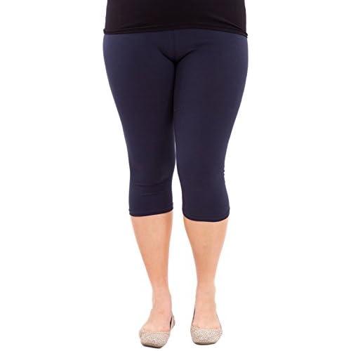9227deca7b59d on sale Zando Women s Tights Capri 3 4 Length Smooth Crop Solid Footless  Basic Leggings