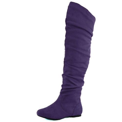 DailyShoes Women's Fashion-Hi Over-the-Knee Thigh High Flat Slouchly Shaft Low Heel Boots Purple SV, 6.5 B(M) US