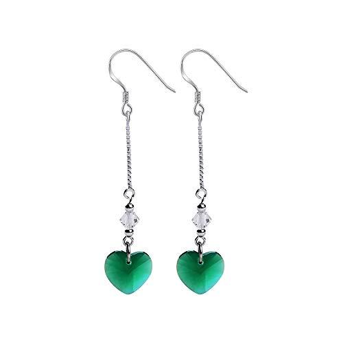 Stone Agate Earrings (iSTONE Drop Earrings 925 Sterling Silver Heart Shape Gemstone Earrings Fine Jewelry Gift For Woman)