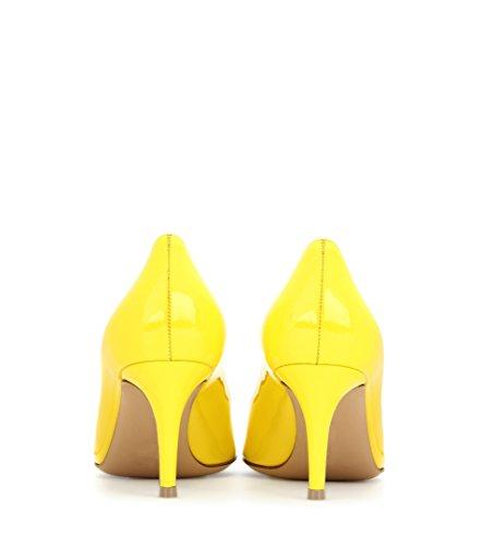 Eldof HeelPumps Heels Pumps Heel Mid Yellow Classic Pointy Kitten 5cm 6 Toe Womens Office Heels OvqnOWr