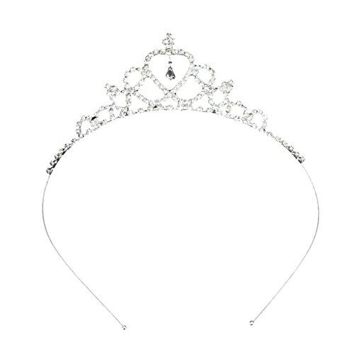 Katara 1668_1 - Hochzeit Diadem für Kinder Blumen Mädchen Herz Form Kronen Stirnband Tiara