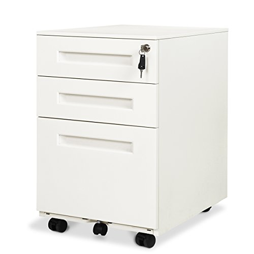DEVAISE 3-Drawer Mobile Pedestal File Cabinet with Lock, Legal/Letter Size (Hand 3 Drawer Pedestal)