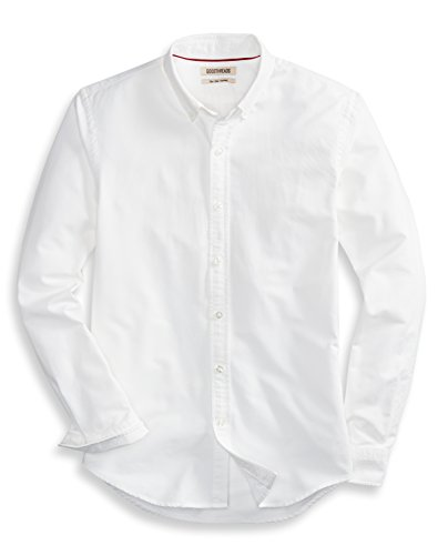 (Goodthreads Men's Slim-Fit Long-Sleeve Solid Oxford Shirt, White, Medium)