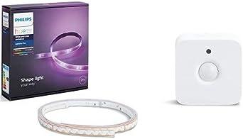 Philips Hue White and Color Ambiance - Lightstrip Plus, tira LED de 2 metros con enchufe + Sensor de movimiento controlable vía WiFi + Lightstrip Plus, extensión tira LED de 1 metro: Amazon.es: Iluminación