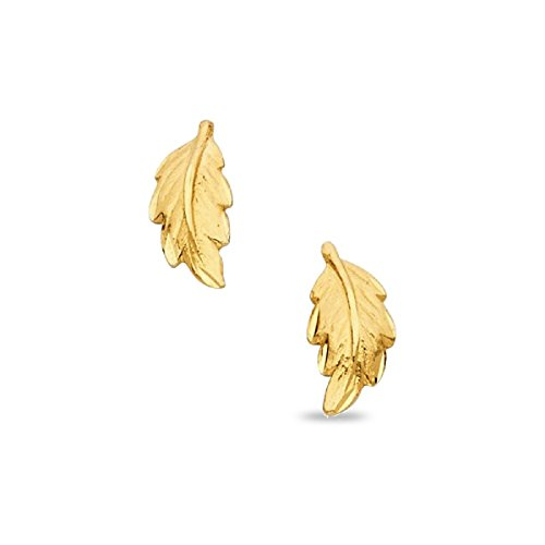 Leaf Stud Earrings Solid 14k Yellow Gold Diamond Cut Polished Finish Fancy Design Genuine 13 x 6 mm
