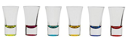 Palais Glassware Verre Liqueur Elegent Heavy Base Shot Glass Set, 1.5 Ounce - Set of 6 (Bottom Sprayed - Glass Liqueur