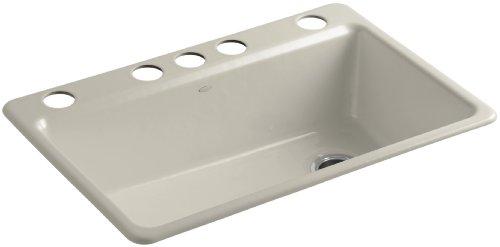 KOHLER K-5871-5UA3-G9 Riverby Single Bowl Undermount Kitchen Sink, Sandbar ()