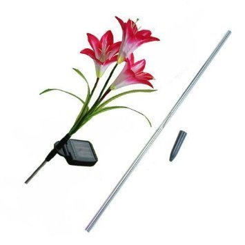 Adeeing Solar Powered Energy Saving LED Color Changing Red Lily 4X Flowers Garden Light Lawn Lamp Waterproof
