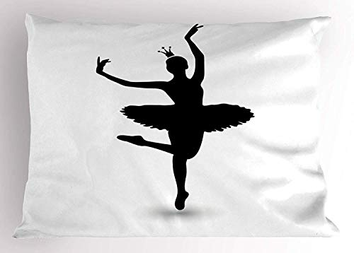 - Ustcyla Dance Pillow Sham, Black Silhouette Illustration Dancing Ballerina Icon a Tiara Kids Girls, Decorative Standard Queen Size Printed Pillowcase, 30 X 20 Inches, Black White
