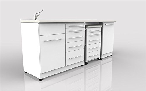 Dental Clinic Cabinet W/laminate Top - Sink 3 Module and Mobile Cart by Certified Dental Supply