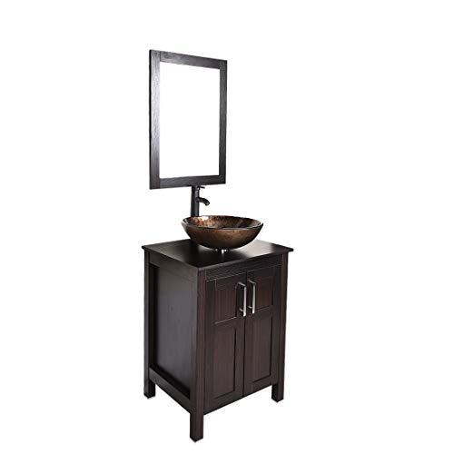 Bathroom vanities 24 inch with sink - Freestanding Eco MDF Sink Cabinet Vanity Organizers with Counter Top Glass VesselSink Vanity Mirror and 1.5 GPM Faucet Combo (Vanity+Golden brown sink)