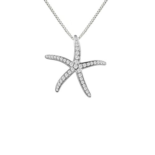 Sterling Silver 925 Pave Starfish Pendant ()