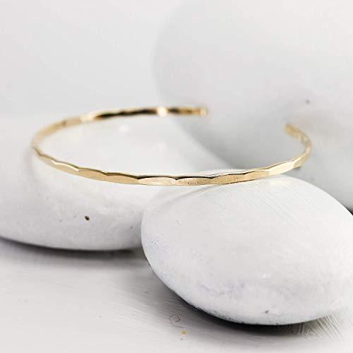 - Thin Hammered Gold Cuff, Handmade Gold Fill Bangle
