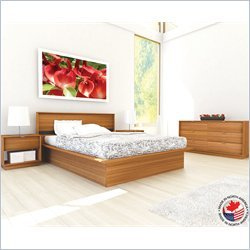 Sonax Manning Contemporary Enternity Walnut Queen Bed 4 Piece Set
