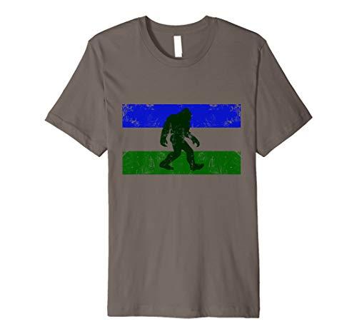 (Cascadia Doug Flag & Bigfoot Premium Fitted T-Shirt)