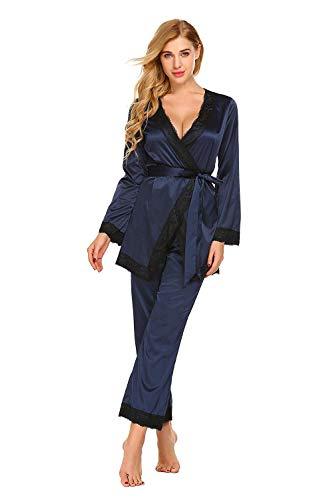 Encaje Otoño cuello Elegantes Con Unicolor Pantalones Hogar Blau Ropa Largo Dormir Conjunto Extravagante Fashion Para Manga V Primavera Pijama Cinturón De Mujer El xwqOgg