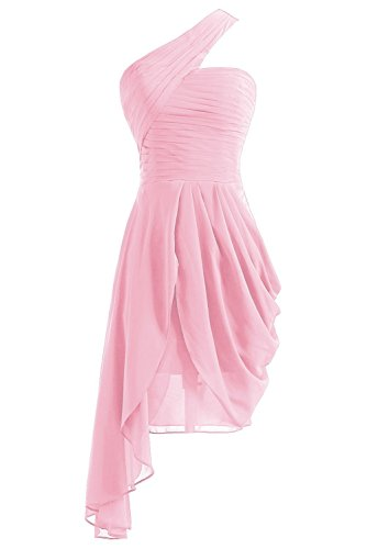 Fanciest Women's Homecoming Blue Short One Bridesmaid Dresses Prom Pink Shoulder Gowns 66RwrqxB