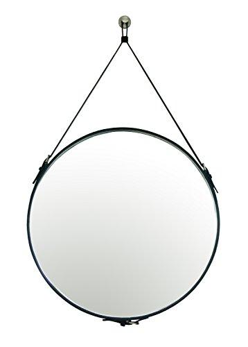HofferRuffer PU Leather Round Wall Mirror Decorative Mirror with Hanging Strap Silver Hardware Hooker/Hanger, Diameter 23.6 inch, Black-L (Frames Mirror Leather)