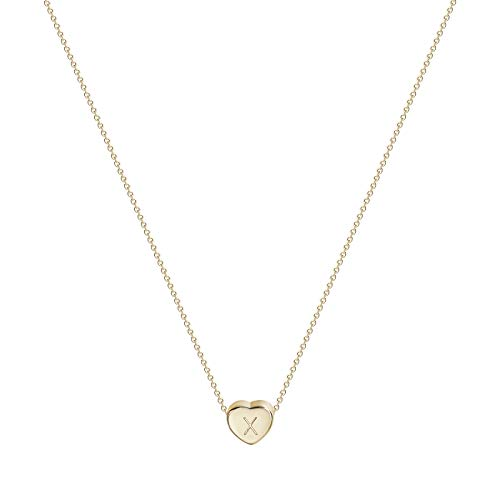 - Initial Heart Necklace, 14K Gold Plated Small Dainty Lovely Heart Pendant Necklace Personalized Tiny Letter X Charm Necklace for Girls Kids (X-Gold)