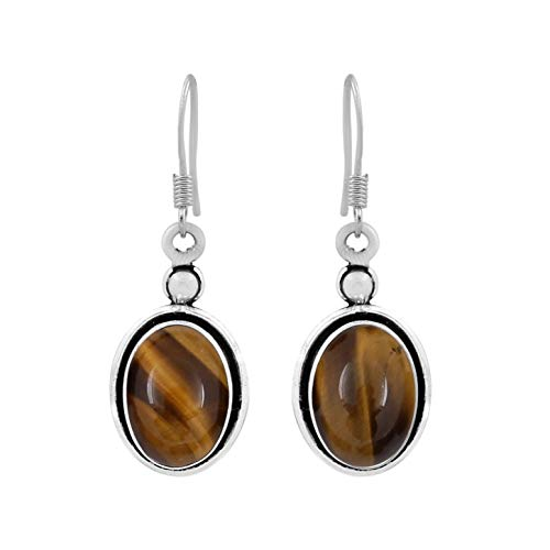 12.00ctw, Genuine Tiger Eye & 925 Silver Plated Dangle Earrings