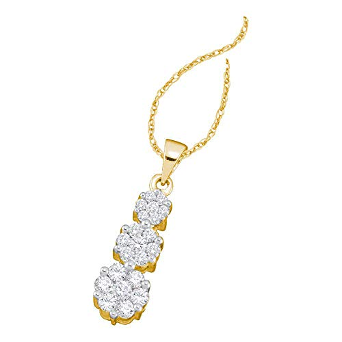 - The Diamond Deal 14kt Yellow Gold Womens Round Diamond Triple Flower Cluster Pendant 3/4 Cttw