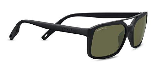 Serengeti Renzo Sunglasses Satin Black/Satin Dark Gunmetal, Green by Serengeti