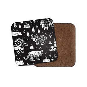 35930e71dbd7 JIANCAICHEN American Tribe Animals Coaster - Bear Bison Cougar Wild West  USA Fun Gift