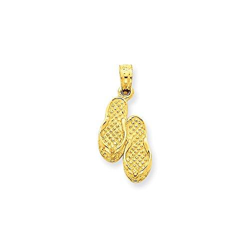 14k Number Flip Flop Pendant (Diamond2Deal 14k Yellow Gold Flip Flops Pendant)