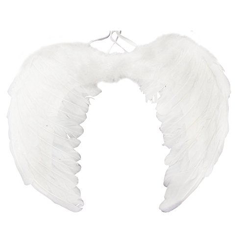 niceEshop(TM) Angel Feathers Wings Costume Fairy Fancy Ball for Halloween Christmas Holiday Party, White, (Angel Wings Halloween)