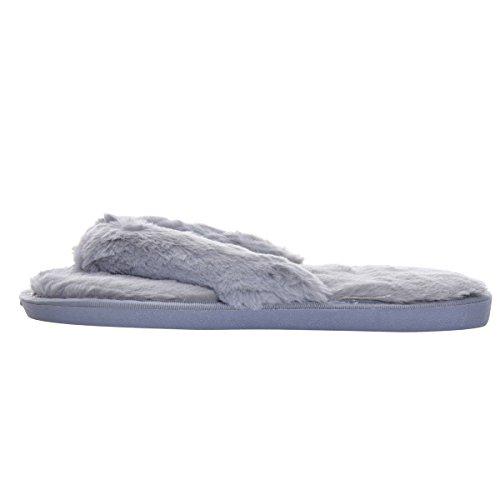 Home Dear Flip Indoor Time Shoes Grey Slipper Slip Fur Flats Soft Faux Flop Women On fzwrf