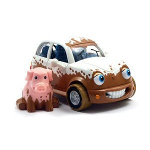 Chevron Cars Maddie Mudster with Removable Pig Finger Puppet (Positively Pigs)