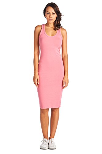 Dusty Pink Cotton - LaClef Women's Sleeveless Basic Racer Back Tank Midi Cotton Casual Dress (Large, Dusty Pink)