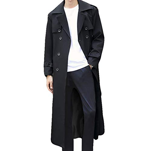 Pantete Man's Double Breasted Trench Coat Oversized Casual Windbreaker Lapel Long Jacket Plush Overcoat.