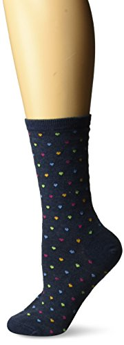 Classic Cuff Socks - Hot Sox Women's Originals Classics Novelty Crew Socks, Pindot Heart Repeat (Denim Heather), Shoe Size: 4-10