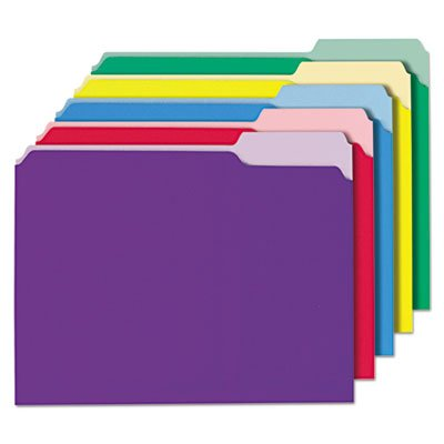 Cut Single 1/3 - File Folders, 1/3 Cut Single-Ply Top Tab, Letter, Assorted, 100/Box, Sold as 100 Each