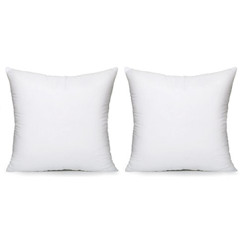 Acanva Hypoallergenic Pillow Insert Form Cushion Euro Sham, Square, 18'' L x 18'' W, Set of 2 by Acanva