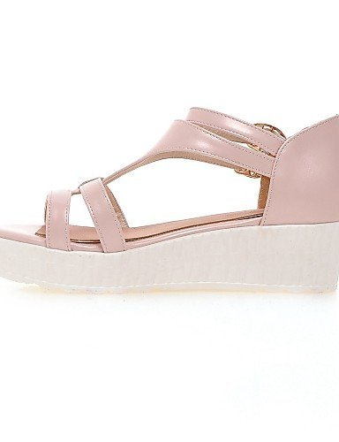 Casual Pink Women's Low Toe White Shoes Blue ShangYi Heel Sandals White Leatherette Open 8wvxqtZd