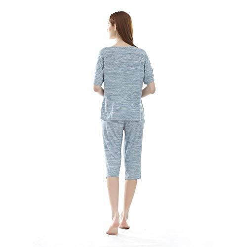 Carta Elegante A Mujer Pijama De Impreso Conjunto Mujeres Dormir Cuello Casuales Para El Hogar Redondo Ropa Informales Corta Verano Fashion Pantalones Camison Manga B4fZfp