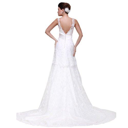 Aermellos Tuell Damen Knopf Gedeckter Linie Kleidungen Brautkleider Ausschnitt Weiß Schleppe Dearta Etui V Hof HPYUPq