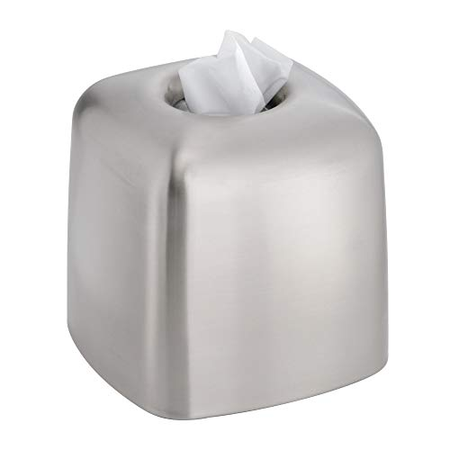 InterDesign Nogu Metal Facial Tissue Box Cover, Boutique Container for Bathroom Vanity Countertops, 6.1